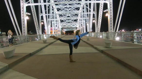 Our youngest on the Shelby Street Bridge in our hometown, Nashville TN